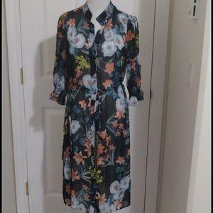 Zara floral long blouse